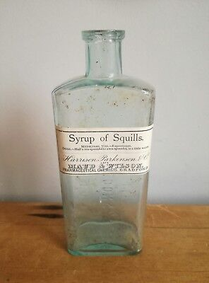 C. 1900 Antique Apothecary Chemist Glass Bottle Label Syrup Of Squills Medicine