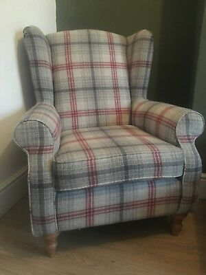 Next Sherlock Red And Grey Wool Check Armchair CAN DELIVER