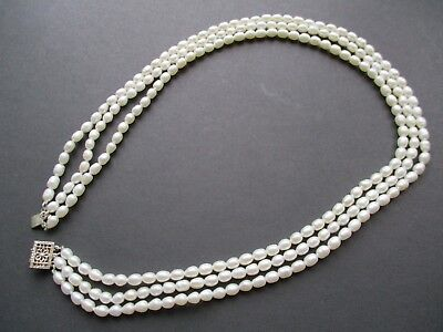 Vintage Pearl Necklace - Stunning Triple Strand Sterling Silver Clasp C1950