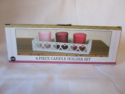 4 Piece Tea Candle Holder Set Red Pink Frosted Glass & White Wood Heart Rack Nib
