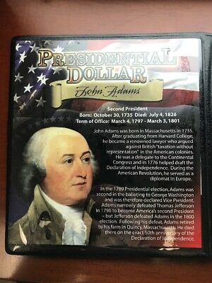 John Adams First Commemorative U.S Dollar Coin With Stamp & Certificate