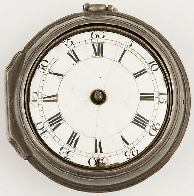 Antique 1761 Silver Pair Cased Verge Fusee Pocket Watch For Parts Repair Only
