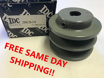 "BK28 Cast Iron Pulley 5/8"" Shaft Bore Two Groove Sheave, NEW! Item: 741492"