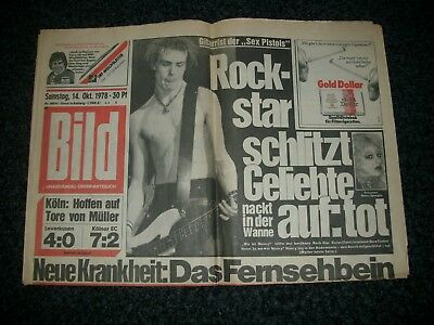 SEX PISTOLS/Sid Vicious orig. german 1978 Newspaper