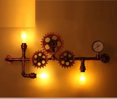 Vintage Retro Industrial Rotating Gears Wall Light  Modern Style Chandelier New