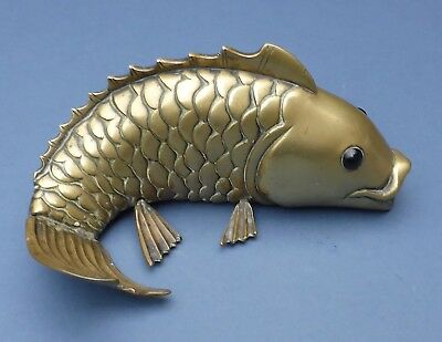 Beautiful Large Antique Brass Fish Carp with Glass Eyes 1900 Chinese Japanese