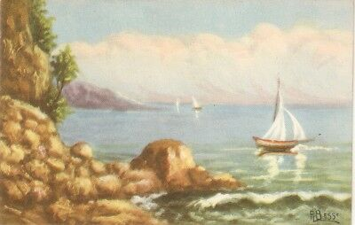 """Seaside scene withsail boats"" Nice Italian postcard 1940/50. Artist signed"