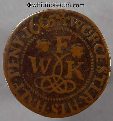 17th Century Token Worcester 139 1665 ½d William Finch F/WK / City Arms