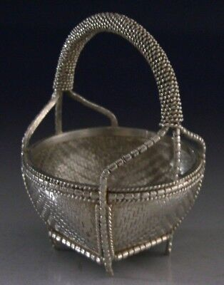STUNNING CHINESE EXPORT SILVER WOVEN BASKET c1900 ANTIQUE 56g