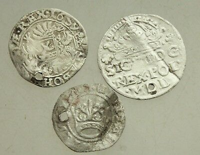 L6 Lot of 3x Medieval Silver Coins  d=18-23mm 3,1g