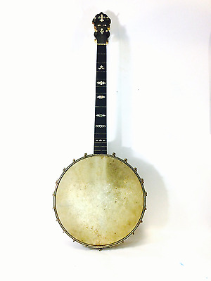 Antique 4 String Banjo Jos B Rogers Jr. Calfskin Head Intact with MOP Inlay