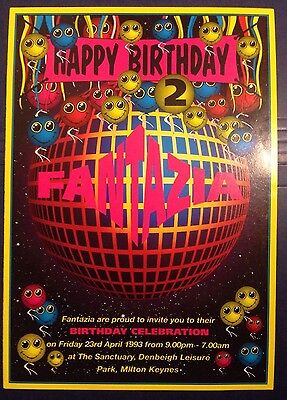 FANTAZIA 1993 - The 2nd Birthday, Rave Flyer. Dance Music Event Rave Flyer