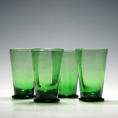 Set of Four Green Victorian Glass Tumblers c1890