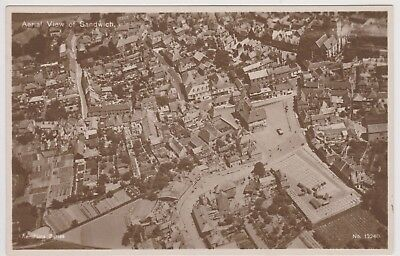 Old Postcard Aerial View of Sandwich Kent Unposted