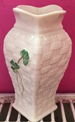 Belleek Basketweave / Shamrock Pattern Vase