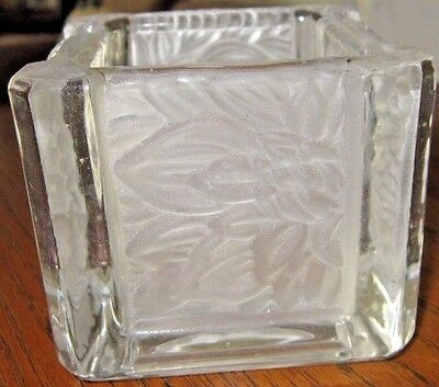 Party Lite Chrysanthemum Square Frosted Votive Or Tea Light Candle Holder Nwob