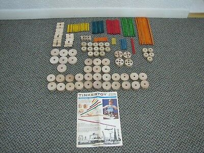 159 Piece Lot of VINTAGE Wooden Tinker Toys (Tinkertoys) w/ Booklet - Variety