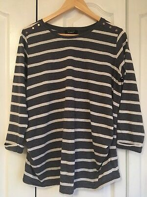 New Look Blue And Grey Maternity Top Size 12