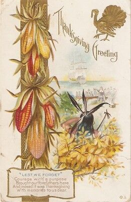 """Lets we forget"" Nice antique American Thanksgiving postcard"