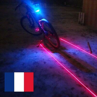 Cyclisme Bicyclette Eclairage Lampe Velo Feu Arriere Led +2 Laser Rouge Lumiere