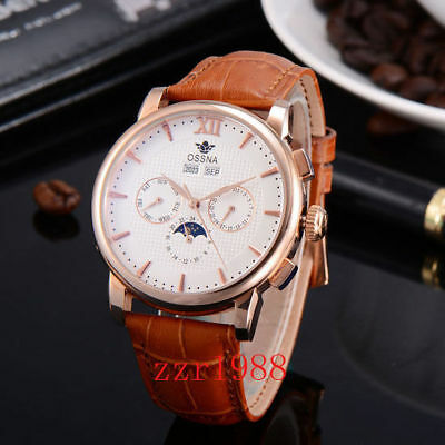 42MM OSSNA ROSE Gold Case/Hands Moon Phase Steel White ...