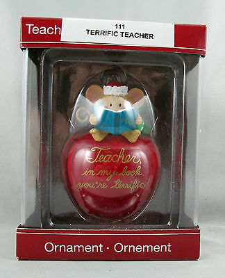 Carlton Cards Terrific Teacher Mouse Reading Book Red Apple 2008 Boxed