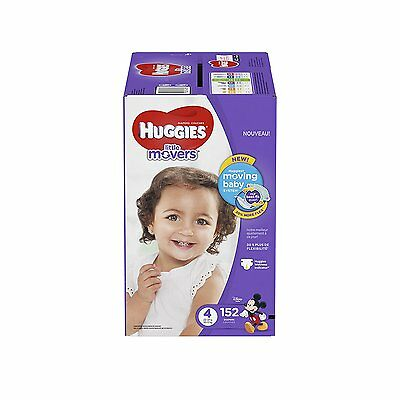 100% GENUINE! SEALED! FREE S&H! HUGGIES Little Movers Diapers, Size 4, 152 Count