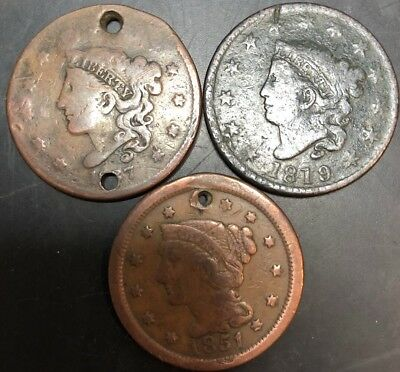 3 Large Cent US Coins: One Is 1819 And In Excellent Condition!!