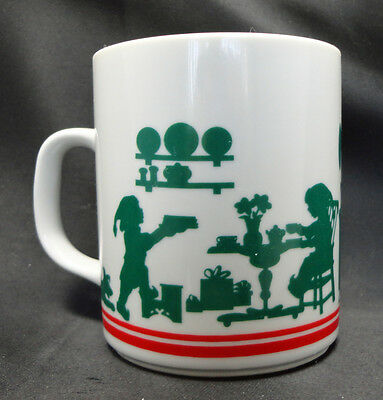 Avon Coffee Mug Cup Mrs Claus Baking Goodies Green Silhouette Free USA Ship LN