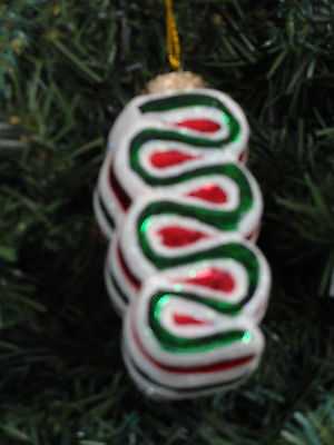 Glass Ribbon Candy Christmas Ornament Red Green White Robert Stanley Sweets NEW