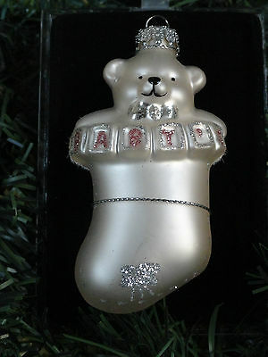 Baby Girl Hand Crafted Glass Christmas Ornament Bear Stocking Pink Sterling NIB