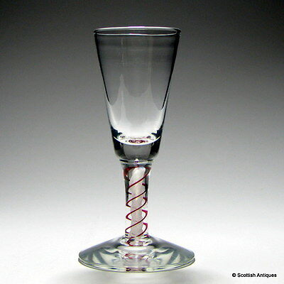 Scottish Red And White Colour Twist Dram Glass
