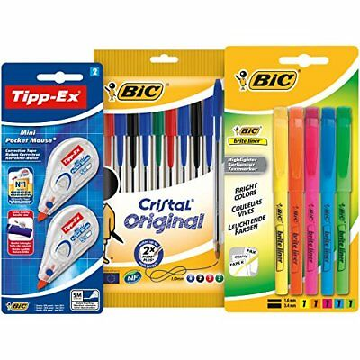 BIC Stationery Pen, Highlighter and Tipp-Ex Kit