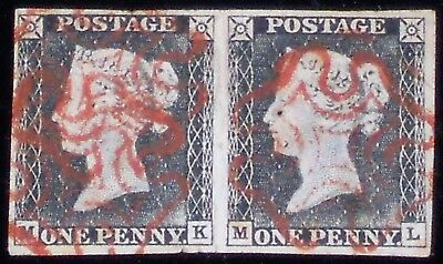 1840 1d Penny Black Horizontal Pair Fine Used 4 Margins Cancelled by 2 Red MC's