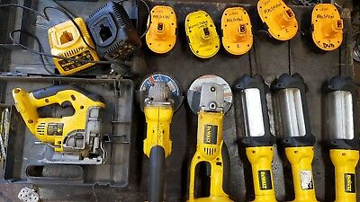 Dewalt 18v cordless kit. Jigsaw, Light x3, Grinder x2, Charger x2, Batteries x5