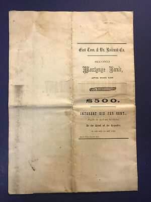 1857 East Tennessee & Virginia Railroad Co. 2nd Mortgage Bond $500