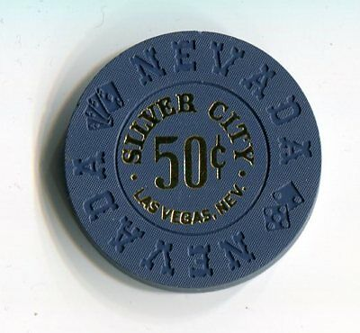"$$$ OLD 1975 SILVER CITY 50c "" 1st Issue  ""  VEGAS CHIP  "" SU Shape "" GEM !!"