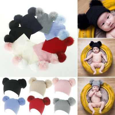 UK Double Ball Child Kids Toddler Winter Beanie Hat Cap Wool Knit Fur Pom EC
