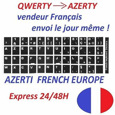 5 AZERTY lettres autocollantes blanches pour clavier PC Mac apple IOS Android