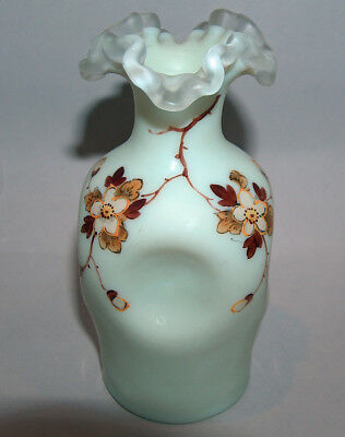 7948: Antique Thomas Webb Enameled Art Glass Vase c1900