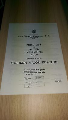 Fordson Major tractor 1950 allied implements price list Dagenham photocopy