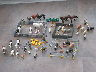 job lot of britains plastic farm animals,walls,fences figures etc