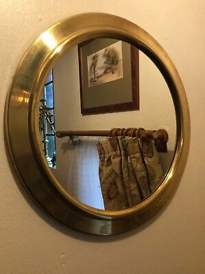 Vintage Brass Wall Hung Mirror 14.5 inch diameter FREE UK POST