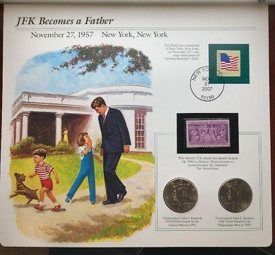 1995 John F. Kennedy Half Dollars Double Mint with Stamp (JFK Becomes a Father)