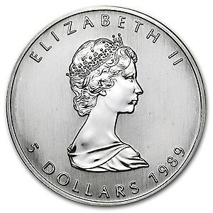 1989 Canadian $5 Maple Leaf 1 Ounce Silver in Coin Capsule