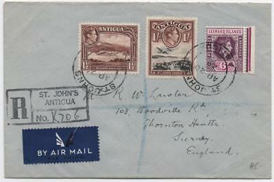 ANTIGUA: 1949 Examples on Registered Airmail Cover to Surrey - St.Johns (11626)