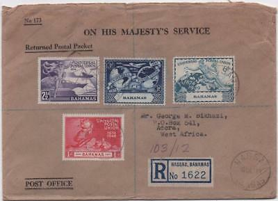 BAHAMAS: 1949 UPU Examples on OHMS Registered Cover to Accra, Nassau (11680)