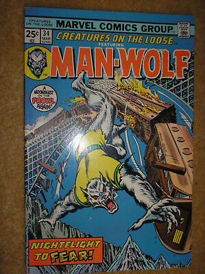 CREATURES ON THE LOOSE # 34 MAN-WOLF PEREZ 25c 1975 BRONZE AGE MARVEL COMIC BOOK