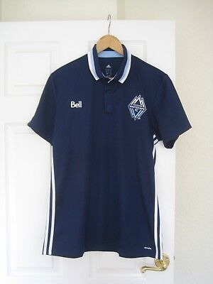 Vancouver Whitecaps FC MLS Adidas Football Polo Shirt Top Jersey - Size Large
