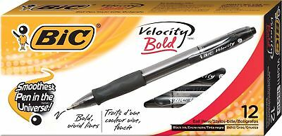 Bic Velocity Bold Retractable Ball Pen, Bold Point 1.6Mm, Blue, 12-Count